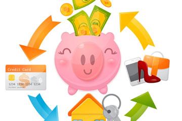 卡通猪储蓄罐和金融元素圆环矢量素材