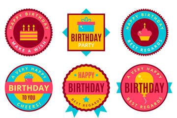 9款彩色生日标签矢量素材