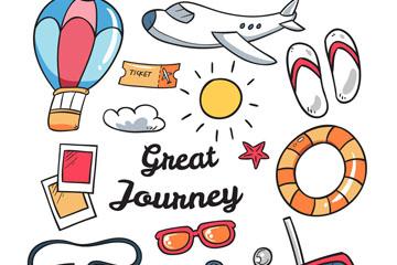 13款手绘旅行元素矢量梦之城娱乐
