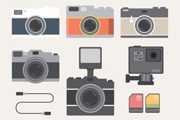 6款创意照相机和3款配件矢量素材