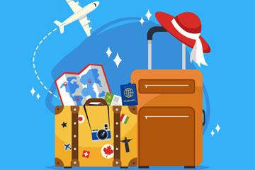 扁平化旅游行李箱和飞机矢量素材