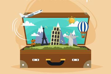 创意打开旅行箱里的风景矢量素材