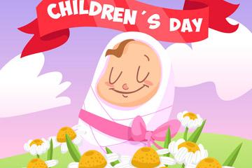 可爱花丛中的儿童节婴儿矢量素材