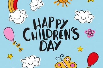 彩绘儿童节艺术字矢量素材