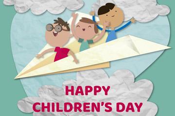创意儿童节坐纸飞机的男孩剪贴画矢量图
