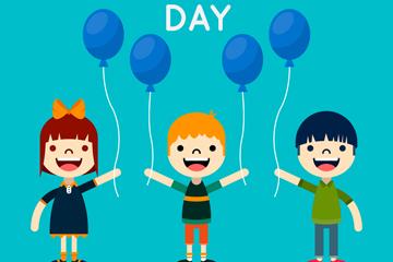创意儿童节气球儿童矢量素材