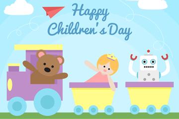 创意儿童节玩具火车矢量素材