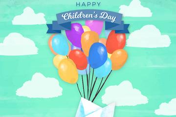 创意儿童节气球和纸船矢量素材