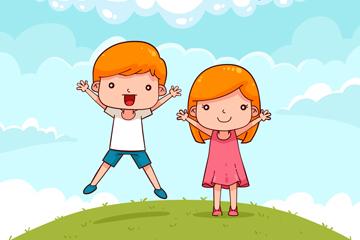 可爱儿童节郊外男孩和女孩矢量图