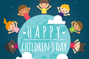 可爱儿童节地球和孩子矢量素材