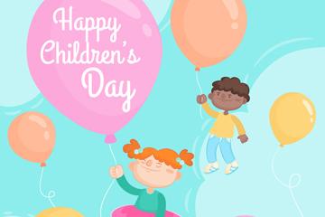 彩绘儿童节气球儿童矢量素材