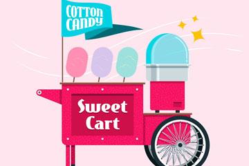 彩色棉花糖车设计矢量素材