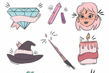 8款彩绘女巫元素矢量素材