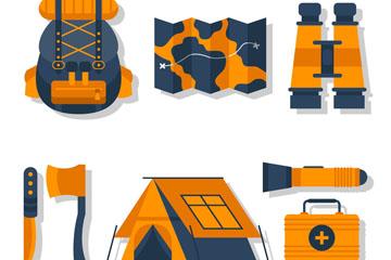 8款橙色野营物品设计矢量素材