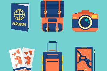 6款蓝色旅行物品图标矢量素材