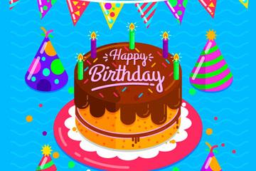 卡通生日蛋糕和三角拉旗矢量素材