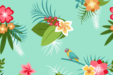 扁平化热带花束无缝背景最新网络赌博网站