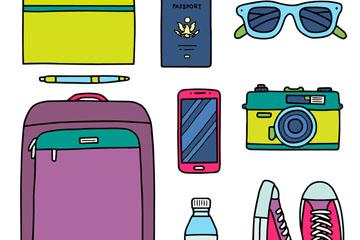 8款彩色旅行物品矢量素材
