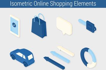 11款立体蓝色网上购物图标矢量素材