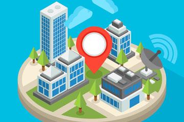 创意立体城市建筑和无线网矢量素材