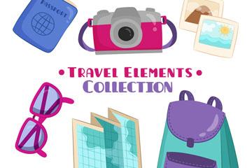 6款卡通旅行物品矢量素材