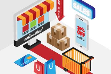 8款立体网上购物元素矢量梦之城娱乐