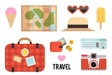 13款扁平化旅行元素矢量素材