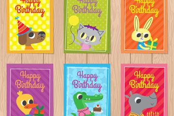 6款可爱动物生日卡片设计矢量图