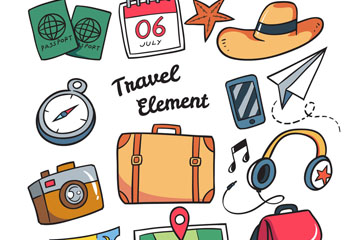14款彩色旅游元素矢量素材