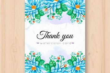 彩绘蓝色菊花感谢卡片矢量素材