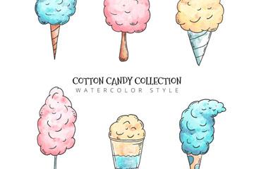 6款彩绘棉花糖设计矢量素材