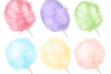 6款水彩绘棉花糖矢量素材
