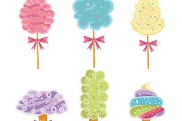 6款彩绘扎蝴蝶结的棉花糖矢量图