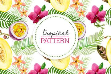 水彩绘热带花卉水果无缝背景矢量图