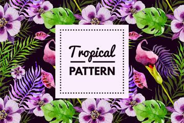 紫色热带花卉无缝背景矢量素材