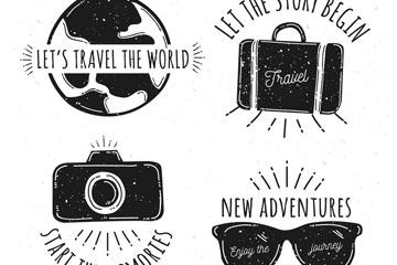4款黑色旅行话语标签矢量素材