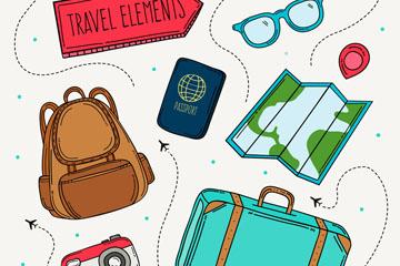 8款彩绘旅游元素设计矢量素材