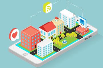 创意手机上的立体建筑矢量素材