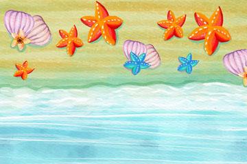 水彩绘夏季大海和海星矢量素材