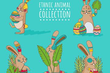 5款创意部落花纹兔子矢量素材