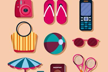 10款彩色度假物品设计矢量素材