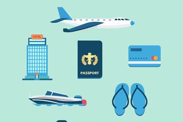 8款蓝色旅行元素矢量素材
