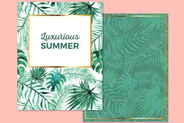 水彩绘夏季棕榈树叶卡片矢量素材