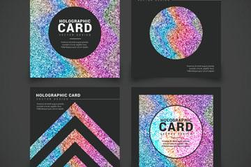 4款创意全息图卡片设计矢量素材