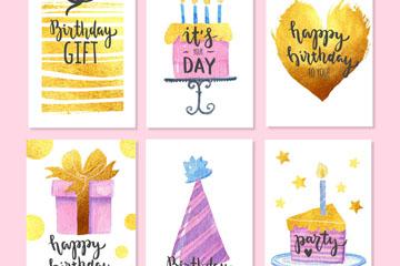6款彩绘金色生日卡片矢量素材