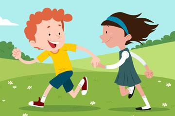 创意草地上奔跑的2个孩子矢量素