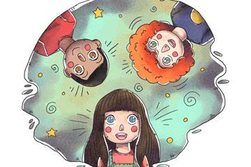 手绘儿童节3个儿童矢量素材