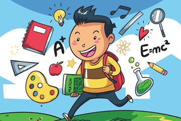 卡通奔跑的返校男孩矢量素材