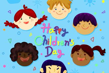 可爱节日儿童头像圆环矢量素材