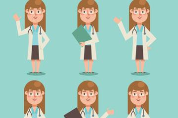 6款创意女医生表情矢量素材